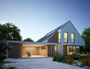 Haus Zinkdach mit Carport Abend